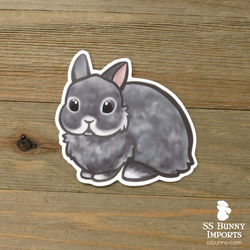 Blue chinchilla dwarf rabbit sticker - grumpy