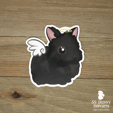 Black lionhead rabbit sticker - halo, wings