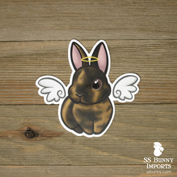 Black harlequin rabbit sticker - halo, wings