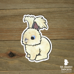 Buff puppy-cut angora rabbit sticker - blue-eyed