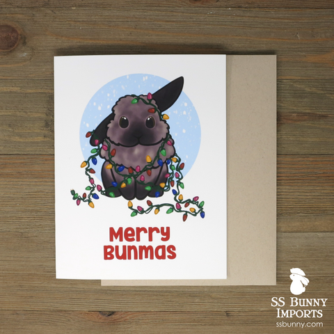 Merry Bunmas card - black tort half lop w/ string lights