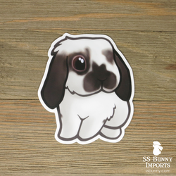 Broken Siamese sable lop rabbit sticker