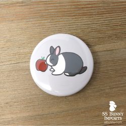 Dutch rabbit with apple pinback button