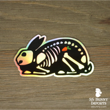 X-ray bunny sticker with carrot - holographic