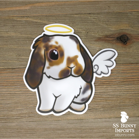Broken orange lop rabbit sticker - halo, wings