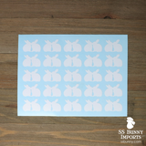 "25x 1"" kissing bunnies silhouette decals"