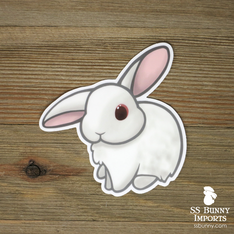 Ruby-eyed white half helicopter-eared bunny sticker