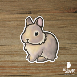 Lilac agouti dwarf bunny sticker - Pudding