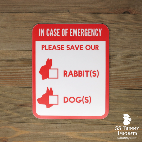 Please save our rabbits and dogs, in case of emergency sticker