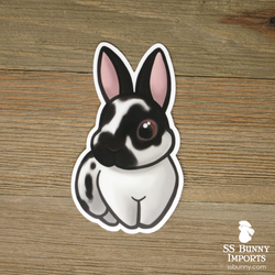 Broken black rabbit sticker - Quinten