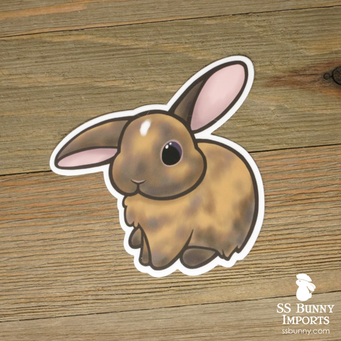Chocolate tort half helicopter-eared bunny sticker w/ white spot
