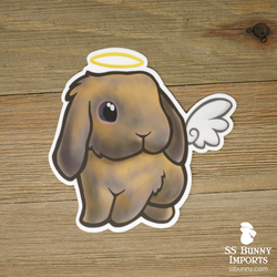 Blue tort lop rabbit sticker - halo, wings