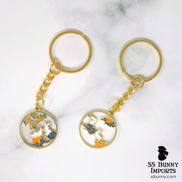 Asian-style bunny gold keychain