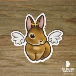 Orange rabbit sticker - halo, wings