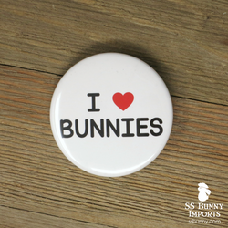 I love bunnies pinback button