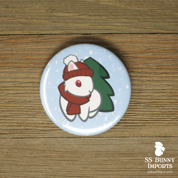 Winter white dwarf bunny pinback button