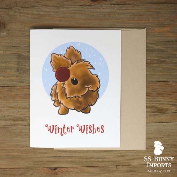 Winter Wishes card - orange lionhead w/ earmuffs