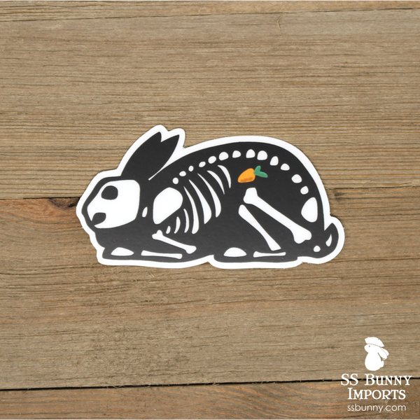 X-ray bunny sticker with carrot