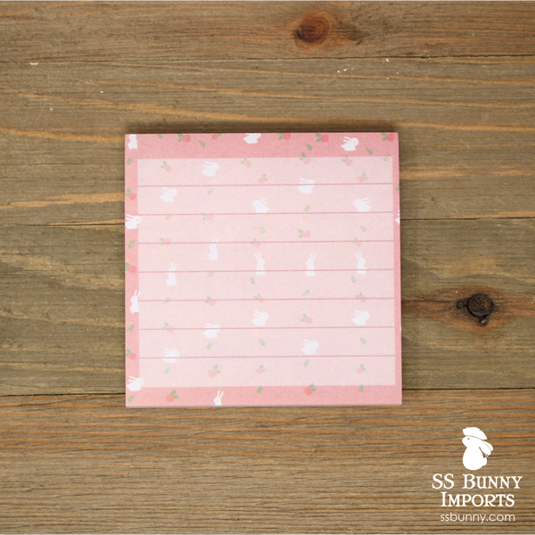 Rabbit sticky memo notes - pink bunny square notepad