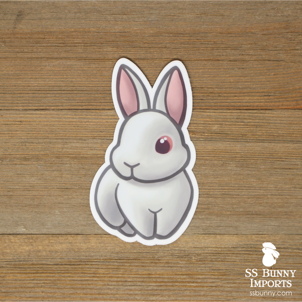 Red-eyed white bunny sticker