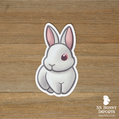 Red-eyed white bunny magnet