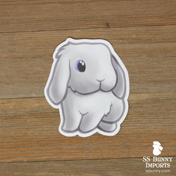 Blue-eyed white lop bunny sticker