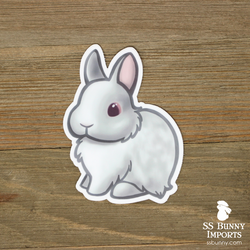 Red-eyed white dwarf rabbit sticker