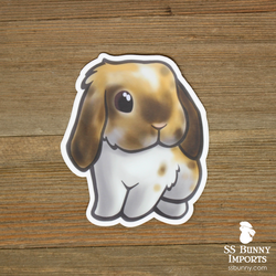 Broken harlequin lop bunny sticker
