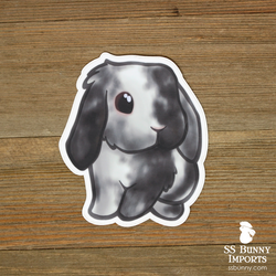 Black magpie harlequin lop rabbit sticker