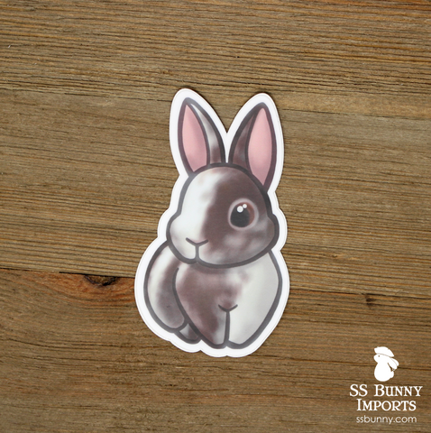 Chocolate brown magpie harlequin rabbit sticker
