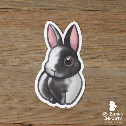 Black magpie harlequin rabbit sticker