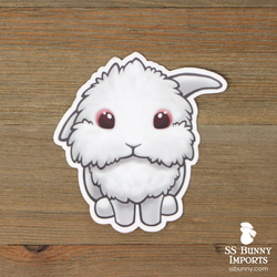 Red-eyed white half lionhead lop sticker