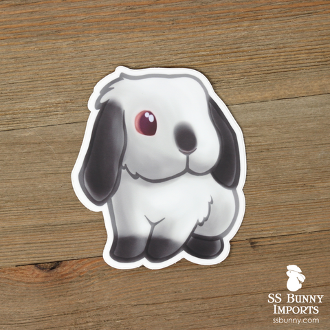 Pointed white lop rabbit sticker