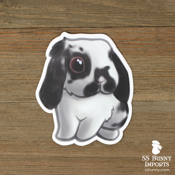Broken black lop rabbit sticker
