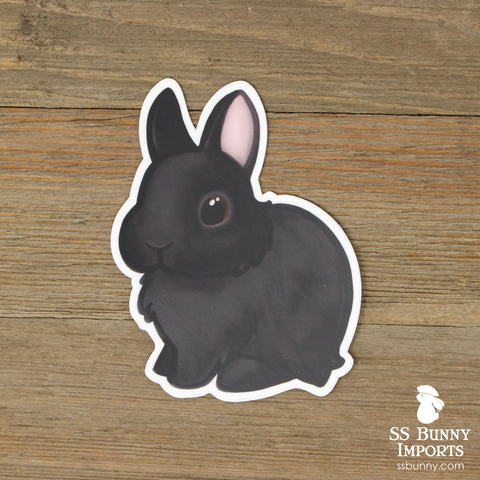 Black dwarf bunny sticker