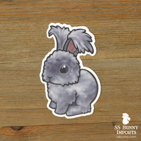 Blue puppy-cut angora rabbit sticker