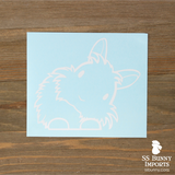 Peeking head tilt lionhead rabbit decal