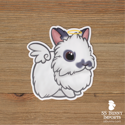 Charlie blue lionhead rabbit sticker - halo, wings