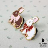 Bunny with bow hard enamel pin