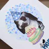 Hoppy Birthday card - lop w/ party hat and cake