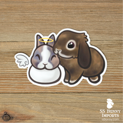 Bonded angel dwarf and lop bunnies sticker -- Panda & Cinnabun