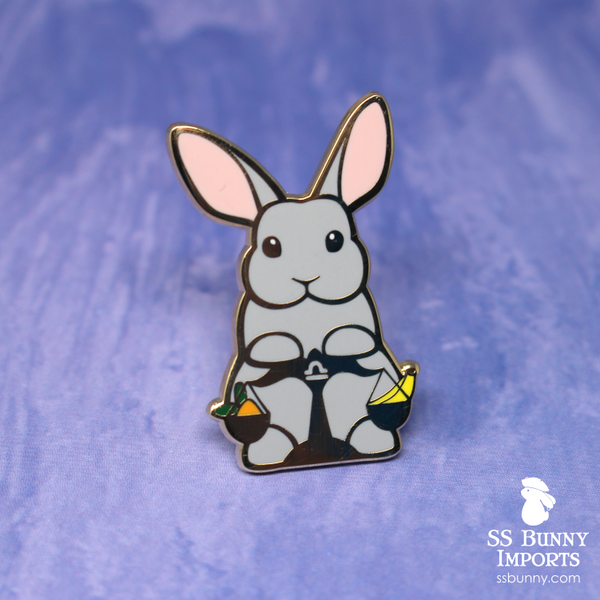 Libra bunny horoscope hard enamel pin