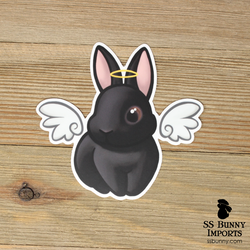 Black rabbit sticker - halo, wings