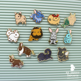 Full set of 12x bunny horoscope hard enamel pins