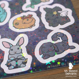 Bunny horoscope holographic sticker sheet - STS02