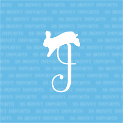 J is for jumping rabbit; monogram decal