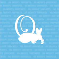 O is for outside bunny; monogram decal