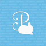 P is for Polish dwarf rabbit; monogram decal