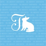 T is for tan rabbit; monogram decal