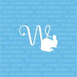 W is for washing bunny; monogram decal